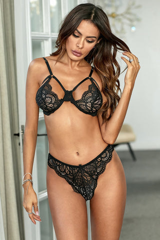 Black Crochet Lace Bralette Panty Set