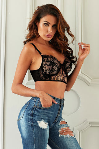 Black Sheer Lace Bustier Bralette