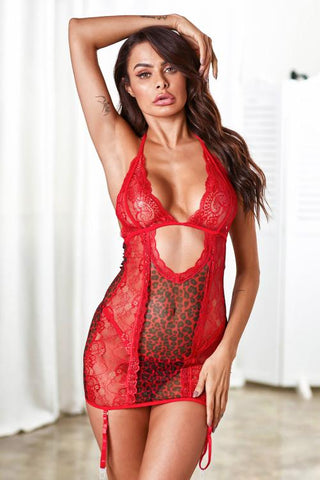 Red Animal Instinct Garter Chemise Set