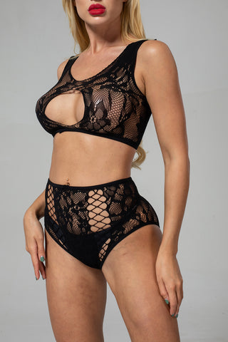 Black Hollow-out Lace Cami Panty Set