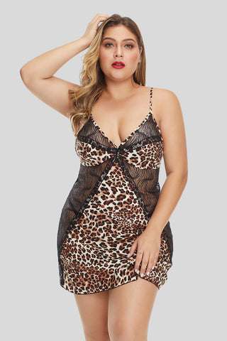 Cheetah Print Lace Hollow-out Nightwear