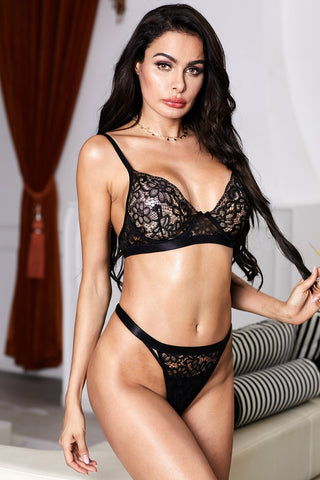 Black Romantic Night Lace Bralette Lingerie Set