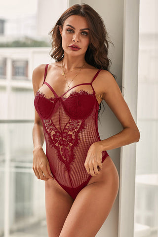 Red Sheer Eyelash Lace Teddy Bodysuit