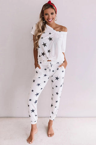 Oh My Stars Tie Top Jogger Loungewear Set