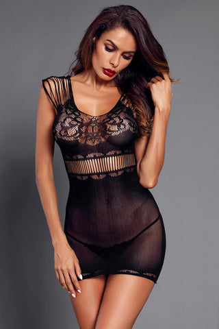Black Lace Mesh Strappy Hollow-out Chemise
