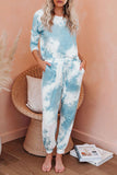 Sky Blue Tie Dye Knit Long Sleeve Joggers Set