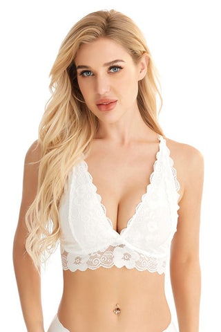 White Deep V Push Up Lace Bralette Lingerie