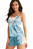 Blue Lace Decor Satin Sleepwear Cami Top and Shorts Pajama Set