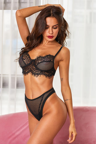 Black Demi Bra Full on Glam Sexy Bralette Set