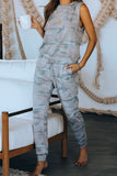 Sleeveless Knit Camo Hoodie Joggers Set