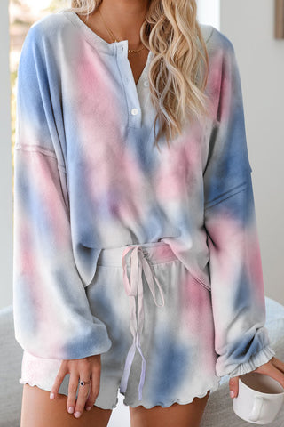 Blue Tie Dye Knit Pajamas Set