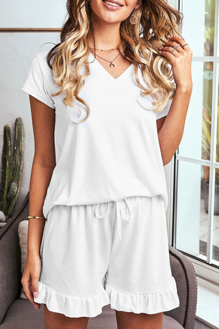 White Super Soft T-shirt Ruffle Shorts Pajamas Set