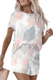 Gray Tie Dye Tee And Shorts Set