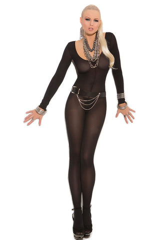 Black Foxy Babe Long Sleeve Bodystocking