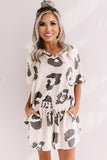 White Leopard Print Pajamas Set