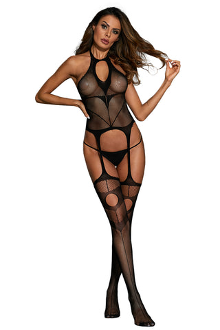 Sexy Halter Neck Fishnet Bodystocking with Hollow-out