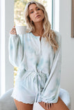 Sky Blue Tie Dye Knit Pajamas Set