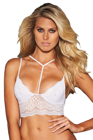 White Strappy Lace Bralette