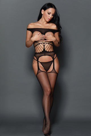 Off-the-shoulder Open Cup Netted Suspender Cut Bodystocking