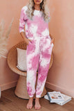 Pink Tie Dye Knit Long Sleeve Joggers Set