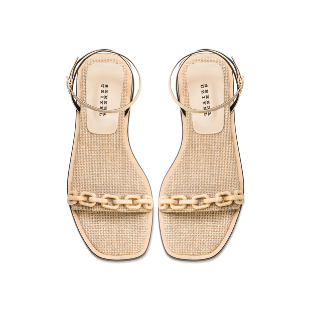 Catena Notte Natural Ankle Cross Flat Sandal