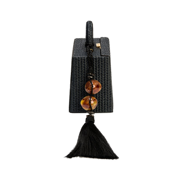 Melita Small Black Raffia Accordion Bag