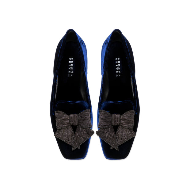 Fiocco Navy Flat Moccasin