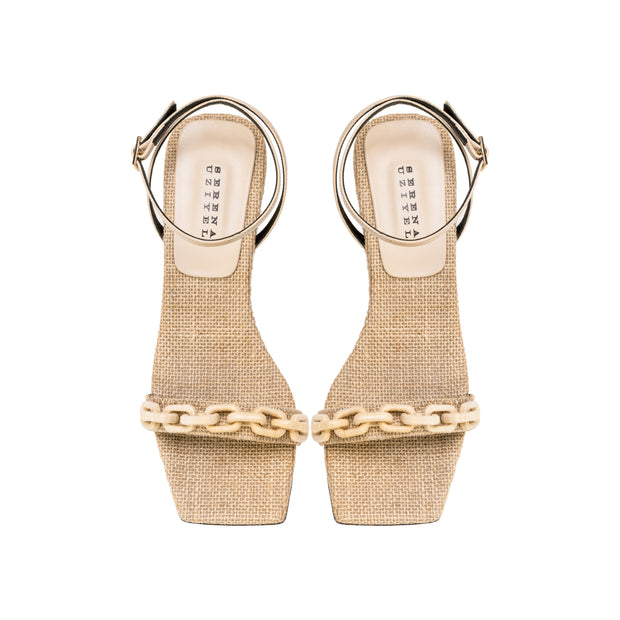 Catena Notte Natural Ankle Cross Mid-Heel Sandal