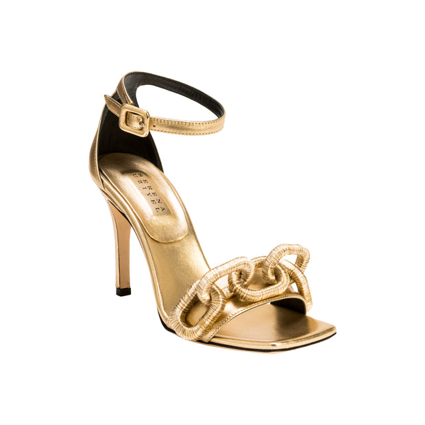 Catena Gold High-Heel Ankle Sandal