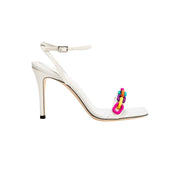 Catena Notte Off-White & Rainbow Ankle Cross High Sandal