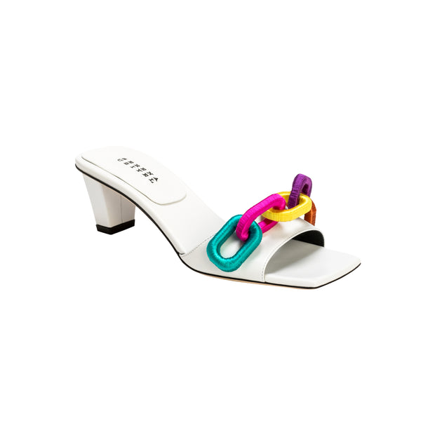 Catena Off-White & Rainbow Mid-Heel Sandal