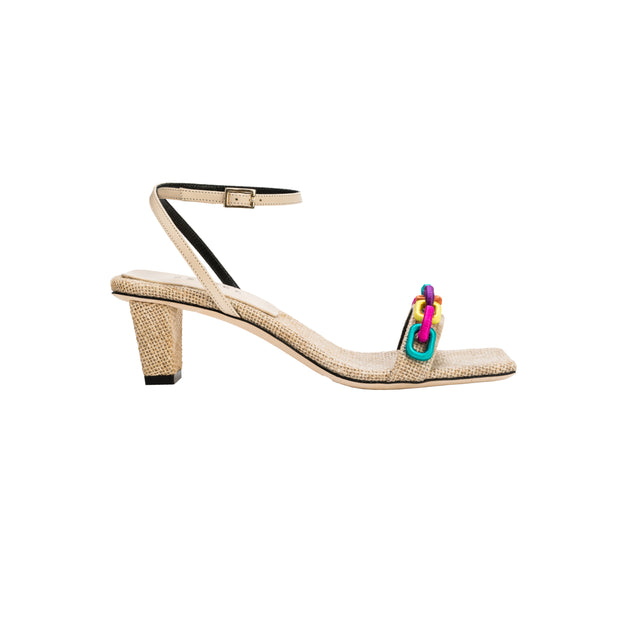 Catena Notte Natural & Rainbow Ankle Cross Mid-Heel Sandal