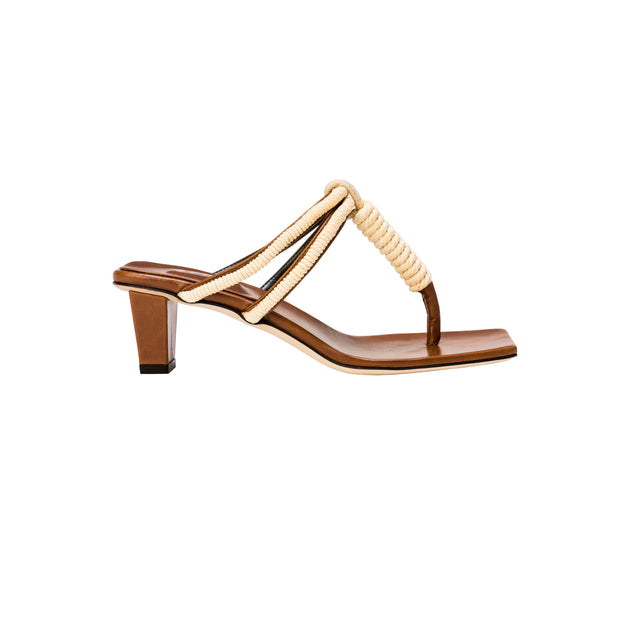Iris Tan & Off-White Mid-Heel Sandal