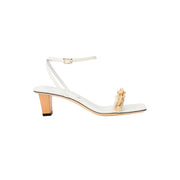 Catena Notte Off-White & Natural Mid-Heel Sandal