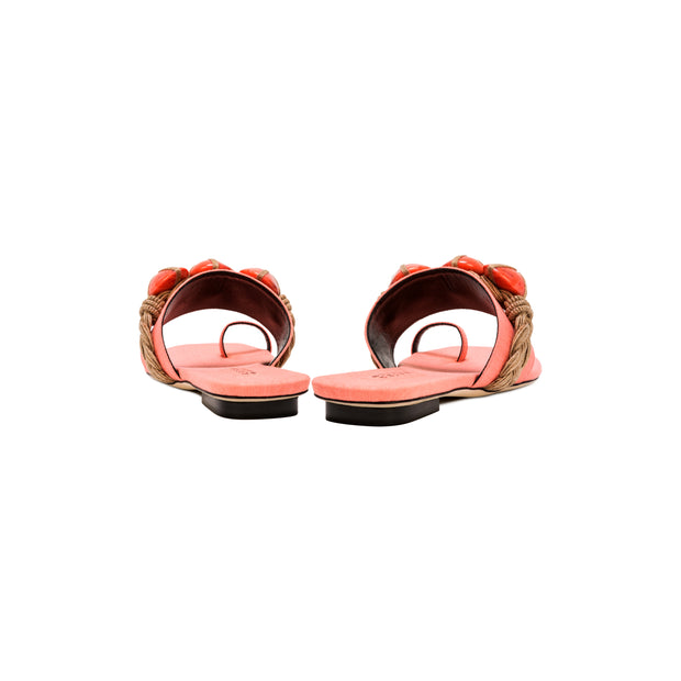 Chloris Coral & Natural Toe Sandal