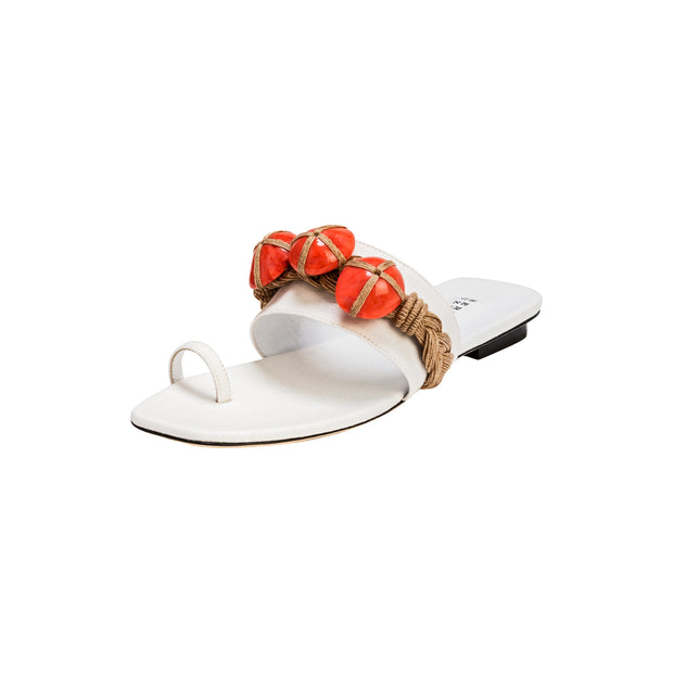 Chloris Off-White & Coral Toe Sandal