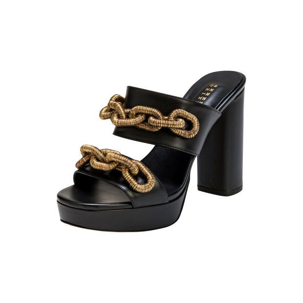 Catena Black & Antique Gold Platform Sandal