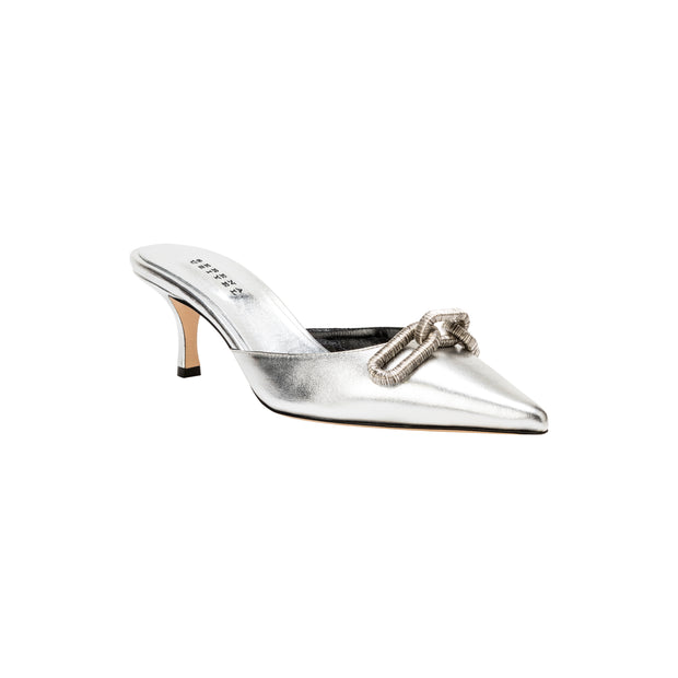 Catena Silver Mid-Heel Pump Mules