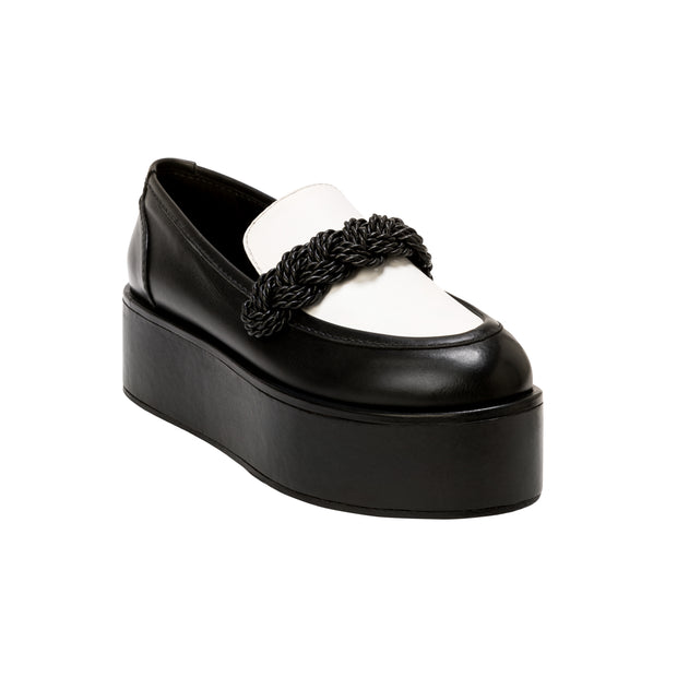Catena Black & Off-White Flatform Loafers