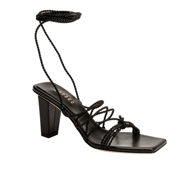 Ophilia Black Lace-Up High Sandal