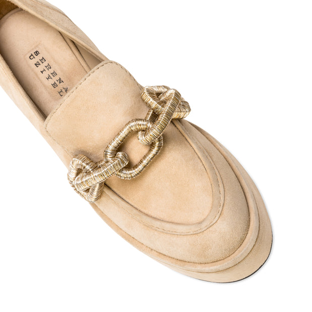 Catena Sand Suede Flatform Loafers