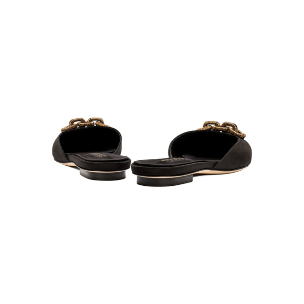 Catena Notte Black Flat Slippers