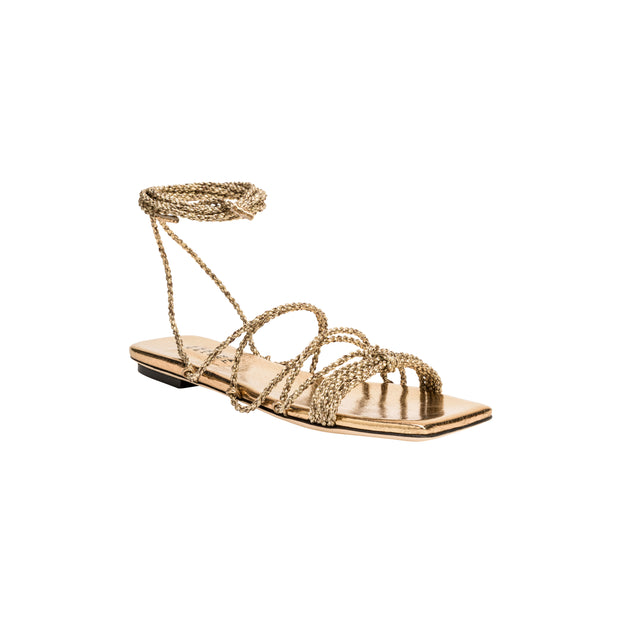 Ophilia Gold Lace-Up Sandal