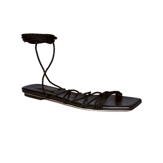 Ophilia Black Lace-Up Sandal