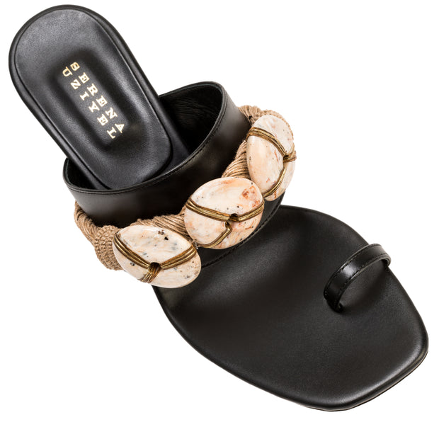 Aura Black & Natural Mid-Heel Toe Sandal