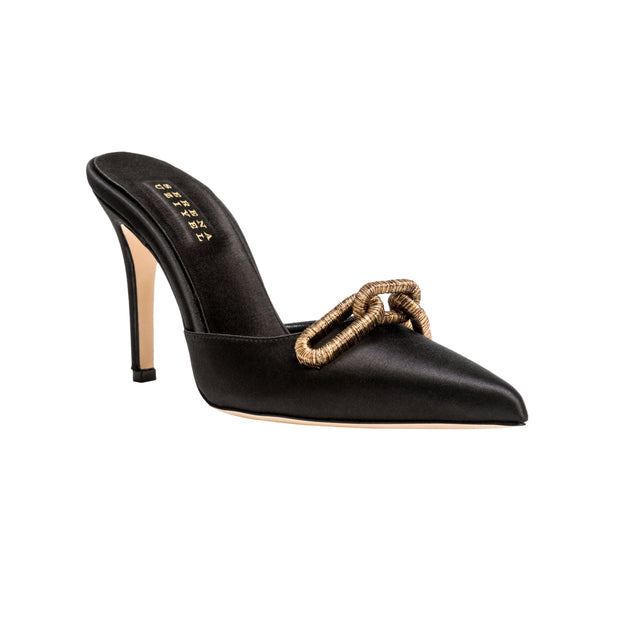 Catena Black High Heel Pump Mule