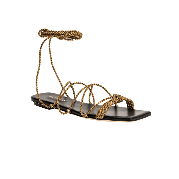 Ophilia Antique Gold Lace-Up Sandal