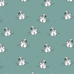 Organic Swimming Swans - Dusty Mint Jersey By Bloome Copenhagen