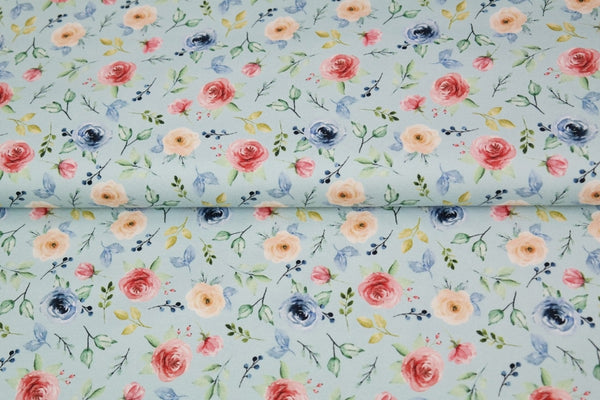 Blue Floral Jersey Fabric PREORDER