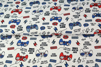 Eat Sleep Repeat Print Jersey Fabric